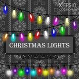 Bożonarodzeniowe światła dekoracje ustawiać na popielatego bezszwowego rocznika ornamentacyjnym wzorze na czarnym tle Obraz Stock