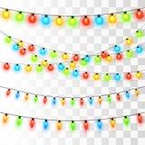 Bożonarodzeniowe Światła Kolorowa Xmas girlanda ilustracja wektor