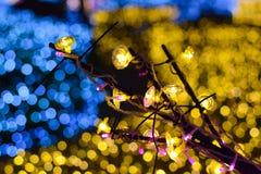 Bożonarodzeniowe światła na drzewie z plamy światła tłem Obrazy Royalty Free