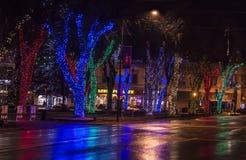 Bożonarodzeniowe światła na głównej ulicie Obrazy Royalty Free