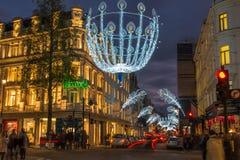 Bożonarodzeniowe światła na Nowej Niewolnej ulicie, Londyn, UK Zdjęcia Stock