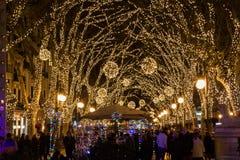 Bożonarodzeniowe światła na Passeig Del Urodzony Fotografia Stock