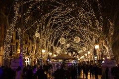 Bożonarodzeniowe światła na Passeig Del Urodzony Zdjęcie Royalty Free