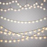 Bożonarodzeniowe światła na przejrzystym tle Wektoru xmas rozjarzona girlanda royalty ilustracja
