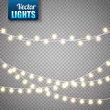 Bożonarodzeniowe światła na przejrzystym tle Wektoru xmas rozjarzona girlanda ilustracji