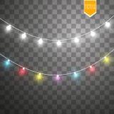 Bożonarodzeniowe światła na przejrzystym tle Xmas rozjarzona girlanda również zwrócić corel ilustracji wektora ilustracja wektor
