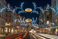 Bożonarodzeniowe światła na Regent ulicie, Londyn, UK Fotografia Stock