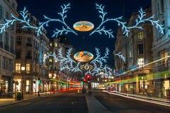 Bożonarodzeniowe światła na Regent ulicie, Londyn, UK Obrazy Stock