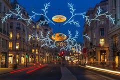 Bożonarodzeniowe światła na Regent ulicie, Londyn, UK Obrazy Royalty Free