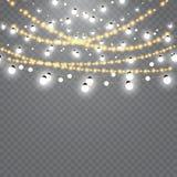 Bożonarodzeniowe światła odizolowywający na przejrzystym tle Set złota xmas rozjarzona girlanda również zwrócić corel ilustracji  Obraz Stock