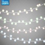 Bożonarodzeniowe światła odizolowywający na przejrzystym tle Set złota xmas rozjarzona girlanda również zwrócić corel ilustracji  zdjęcie royalty free