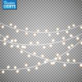 Bożonarodzeniowe światła odizolowywający na przejrzystym tle Set złota xmas rozjarzona girlanda również zwrócić corel ilustracji  zdjęcia stock