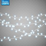 Bożonarodzeniowe światła odizolowywający na przejrzystym tle Set złota xmas rozjarzona girlanda również zwrócić corel ilustracji  obraz royalty free