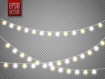 Bożonarodzeniowe światła odizolowywający na przejrzystym tle Xmas rozjarzona girlanda również zwrócić corel ilustracji wektora ilustracja wektor