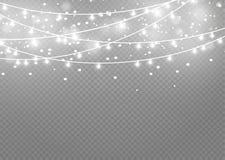 Bożonarodzeniowe światła odizolowywający na przejrzystym tle Xmas rozjarzona girlanda również zwrócić corel ilustracji wektora royalty ilustracja