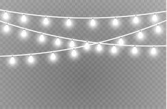 Bożonarodzeniowe światła odizolowywali realistycznych projektów elementy Jarzyć się zaświeca dla Xmas Wakacyjnych kart, sztandary ilustracja wektor