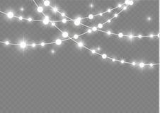 Bożonarodzeniowe światła odizolowywali realistycznych projektów elementy Jarzyć się zaświeca dla Xmas Wakacyjnych kart, sztandary ilustracji