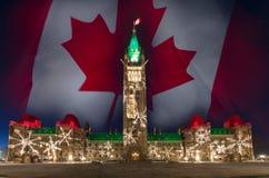 Bożonarodzeniowe Światła parlamentu wzgórze Ottawa Ontario Kanada Zdjęcia Stock