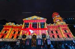 Bożonarodzeniowe światła projekcje na Melbourne urzędzie miasta Zdjęcia Royalty Free