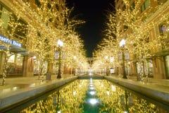 Bożonarodzeniowe Światła przy miasto zatoczką w W centrum Salt Lake City Obrazy Royalty Free