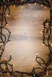 Bożonarodzeniowe światła tło, rama Fotografia Stock