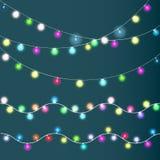 Bożonarodzeniowe światła ustawiający, barwione girlandy, ilustracja wektor