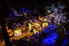 Bożonarodzeniowe światła wszystko wokoło mosta, drzewa, podpisują przy nocą, poczta domy i światła obraz royalty free