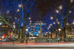 Bożonarodzeniowe Światła Wystawiają w Chelsea, Londyn, UK Zdjęcie Royalty Free