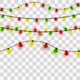 Bożonarodzeniowe Światła Xmas i nowego roku kartki z pozdrowieniami elemets również zwrócić corel ilustracji wektora ilustracji