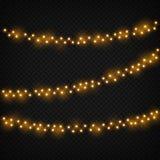 Bożonarodzeniowe Światła Xmas realistyczna rozjarzona złota lekka wakacyjna dekoracja Girlanda z lightbulbs Odosobniony wektoru s royalty ilustracja