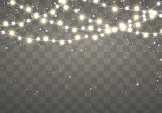Bożonarodzeniowe światła z błyskotliwymi spada płatek śniegu odizolowywającymi na przejrzystym tle Xmas rozjarzona girlanda royalty ilustracja