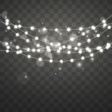 Bożonarodzeniowe światła z głównej atrakcji i bokeh skutkiem Xmas rozjarzona girlanda Wektorowa ilustracja odizolowywająca na prz ilustracja wektor