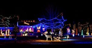 Bożonarodzeniowe Światła Zaświecają Up noc Obraz Royalty Free