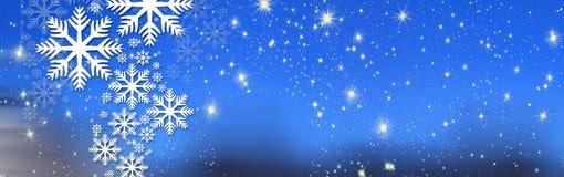 Bożych Narodzeń życzenia, łęk z gwiazdami i śnieg, tło Zdjęcia Stock