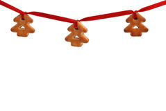 bożych narodzeń ciastek ornamentu czerwona taśma Zdjęcia Stock