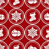bożych narodzeń dekoraci wzór bezszwowy Round boże narodzenie symbole obraz royalty free
