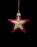bożych narodzeń dekoraci złocista czerwieni gwiazda Obraz Stock