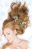 bożych narodzeń dekoracj włosiana urocza kobieta Obraz Royalty Free
