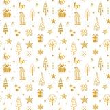Bożych Narodzeń doodles bezszwowy wzór Obrazy Royalty Free