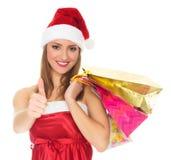 bożych narodzeń dziewczyny kapeluszu czerwień Zdjęcia Stock