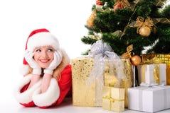 bożych narodzeń dziewczyny Santa drzewo Zdjęcie Stock