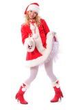 bożych narodzeń dziewczyny Santa drzewo Fotografia Royalty Free