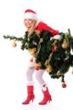 bożych narodzeń dziewczyny Santa drzewo Obrazy Royalty Free