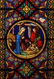 bożych narodzeń glas sained okno Fotografia Royalty Free