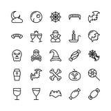 Bożych Narodzeń, Halloween, przyjęcia i świętowania Kreskowe Wektorowe ikony 21, ilustracja wektor