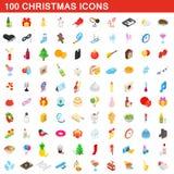 100 bożych narodzeń ikon ustawiających, isometric 3d styl ilustracji