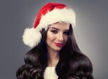 bożych narodzeń kapeluszowa Santa kobieta smokingowej mody złoty model Obraz Stock
