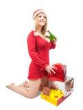 bożych narodzeń prezentów dziewczyna Zdjęcie Royalty Free