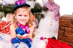 bożych narodzeń prezentów dziewczyny drzewo Zdjęcie Royalty Free