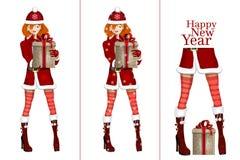 bożych narodzeń prezenta dziewczyna Santa ilustracja wektor